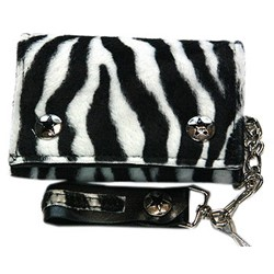 Black and White Fuzzy Zebra Print w/ Chain
