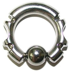 Tribal Cut Captive Bead Ring from 8g-0g