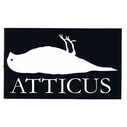 "Atticus Sticker in Black - 5"" x 3"""