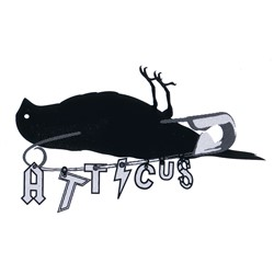 "Atticus Safety Pin Sticker in Black - 5"" x 3"""
