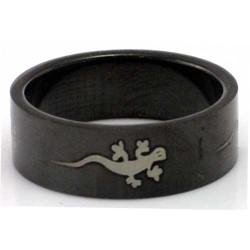 Blackline Gecko Design Stainless Steel Ring by BodyPUNKS (RBS-011)