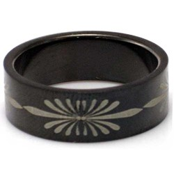 Blackline Flower Design Stainless Steel Ring by BodyPUNKS (RBS-033)