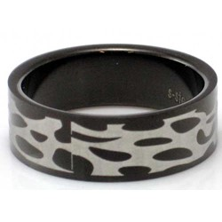 Blackline Tribal Web Design Stainless Steel Ring by BodyPUNKS (RBS-002)