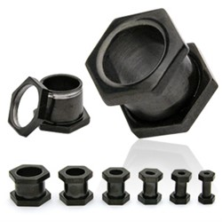 Blackline Titanium Hexagon Flesh Tunnel Plug from 8 gauge to 5/8''