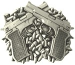 Guns Buckle with lighter on the back (Silver Grey)