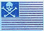 Skull USA Flag In Glitter (Red, White, and Blue)