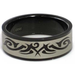 Blackline Tribal Design Stainless Steel Ring by BodyPUNKS (RBS-032)