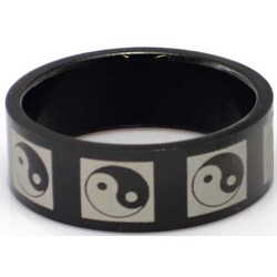 Blackline Ying Yang Design Stainless Steel Ring by BodyPUNKS (RBS-029)