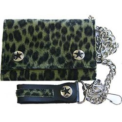 Jungle green and black Fuzzy Leopard Print Wallet w/ Chain