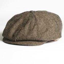 Brixton Brood Hat in Brown/Khaki Herringbone