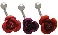14g Curved Barbell surgical steel banana with Ceramic Rose Charm