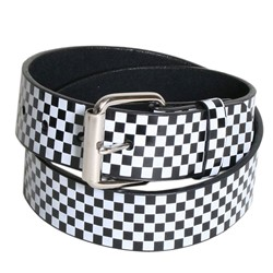 Black/White Checkered Syn Leather Belt by BodyPunks