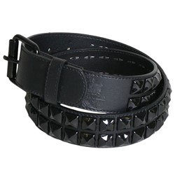 Black double row pyramid studded leather belt W/ black studs