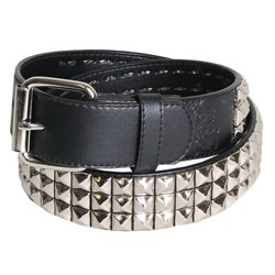 Triple Row Studded Syn Leather Belt in Black/Chrome by BodyPunks