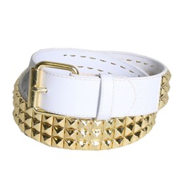 Triple Row Studded Syn Leather Belt in White/Gold by BodyPunks