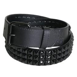 Black 3 row pyramid studded leather belt W/ black studs