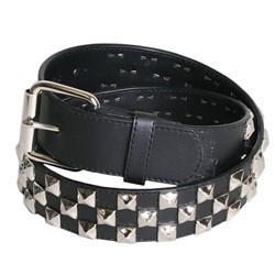 Alternate Triple Row Studded Syn Leather Belt in Black/Chrome by BodyPunks