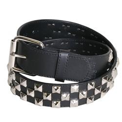 Alternate Triple Row Studded Syn Leather Belt in Black/Chrome by BodyPunks