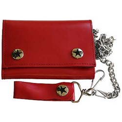 Solid red Tri Fold punk rocker Wallet w/ Chain