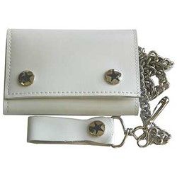 Solid white Tri Fold punk rocker Wallet w/ chain