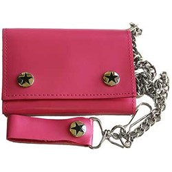 Solid PINK Tri Fold punk rocker Wallet w/ chain