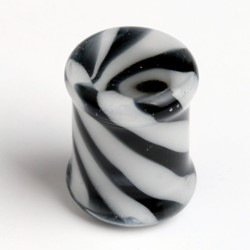 Virtual Hollow Zebra Pyrex Plug in Black/White