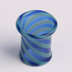 Hollow Zebra Pyrex Plug in Blue/Black