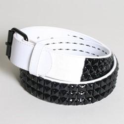 White 3 row pyramid studded leather belt W/ black studs