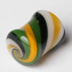 Double Flared Solid Swirls Pyrex Plug in Yellow/Green/Blue/White