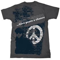 John Lennon - Painted On The Wall Adult T-shirt in Charcoal