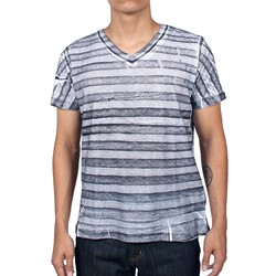 Jailbird Stripe Slub V-Neck S/S T-shirt in Blackout by Kontorsion