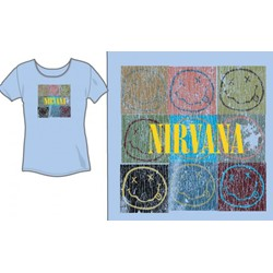 Nirvana - Smile Box Jr Women's T-Shirt in Lt Blue