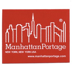 "Manhattan Portage - Sticker 2"" X 1.5"" in Red"