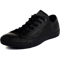 Converse Leather Chuck Taylor All Star Shoes (1T865) Low Top in Black Monochrome