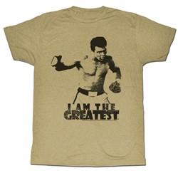 Muhammad Ali - Mens I Am The Greatest T-Shirt In Khaki Heather