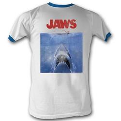 Jaws - Mens Poster Blue T-Shirt In White/Blue Ringer