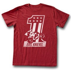Evel Knievel - Mens Red One T-Shirt in Cardinal