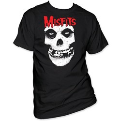 The Misfits -  Red Logo Misfits Skull Adult S/S T-Shirt in Black