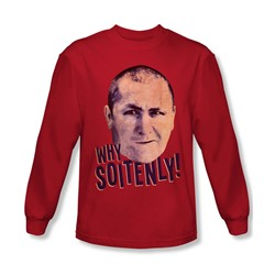 Three Stooges - Mens Why Soitenly Long Sleeve Shirt In Red
