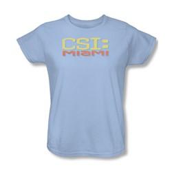 Csi: Miami - Womens Logo Distressed T-Shirt In Light Blue
