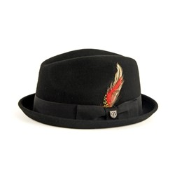 Gain Felt Fedora Hat in Black Felt by Brixton