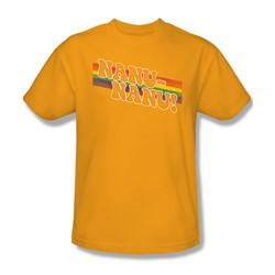 Mork & Mindy - Mens Nanu Rainbow T-Shirt In Gold