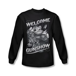Mighty Mouse - Mens Mighty Gunshow Long Sleeve Shirt In Black