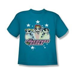 Powerpuff Girls - Big Boys Starry T-Shirt In Turquoise