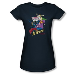 Cow & Chicken - Womens Super Cow T-Shirt In Navy