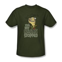 Ed Edd N Eddy - Mens Brain Dead Ed T-Shirt In Military Green