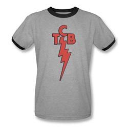 Elvis Presley - Mens Tcb Ringer T-Shirt In Heather/Black
