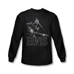 Elvis Presley - Mens Guitar In Hand Long Sleeve Shirt In Black