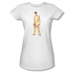 Elvis Presley - Womens Gold Lame Suit T-Shirt In White