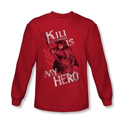The Hobbit - Mens Kili Is My Hero Long Sleeve Shirt In Red